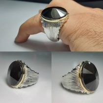 انگشتر شیرازی نگین عقیق سیاه جز یمنی تراش الماسه
