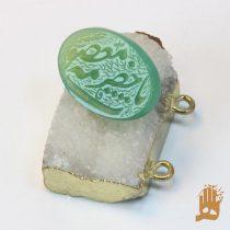 سنگ عقیق سبز خراسانی با حکاکی یا حضرت معصومه